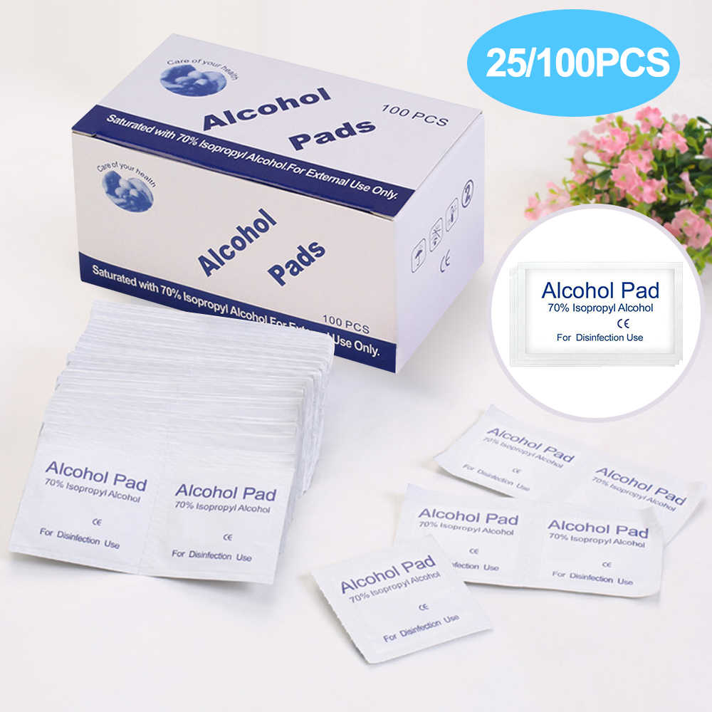 RePinklax 25/100PC Anti Phlogosis Isopropyl Sterile Alcohol Pads Disinfection Piece Wipe Disposable Skin Cleaning Care First Aid