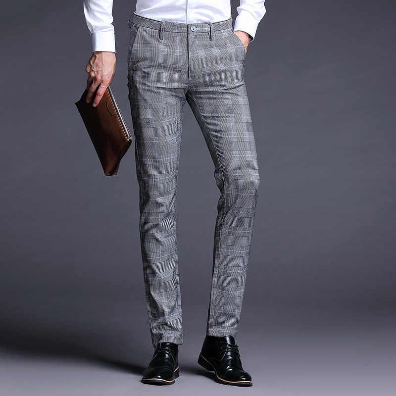 스트레치 격자 무늬 드레스 바지 남성 슬림 맞는 남성 정장 바지 길이 공식 비즈니스 여름 정장 바지 남성 바지