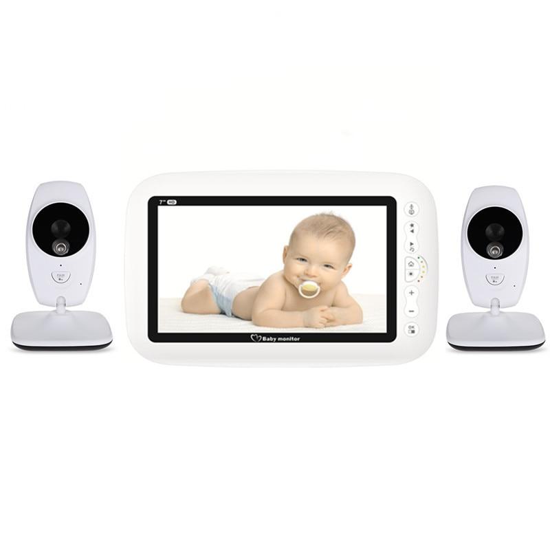 "7"" Wireless 720P HD Baby Monitor With Two Digital Camera IR Night Vision Intercom Nanny Video Baby Monitor Supports Screen Split"