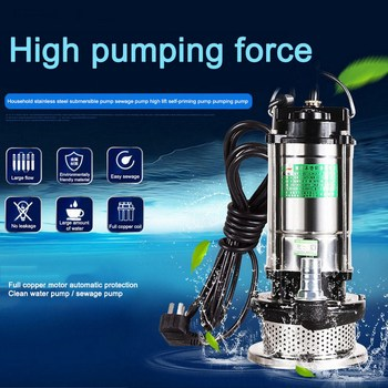 Water Pump Sewage Pump 370W Clear Submersible Stainless Steel Non-blocking Water Pump Well Alternative Pumping Drainage Pump qds 8500l h portable small stainless steel submersible pump 550w big power centrifugal water pump