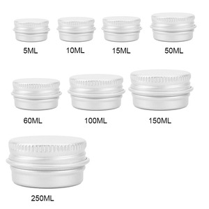 Small Aluminum box Cans Round thread Mini Sample Jar Pot Lip Cream box Round Empty Aluminium Cosmetic Pot Jar Tin Container Silv