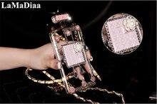 Luksusowe brokat Bling diamentowa butelka perfum DIY Rhinestone etui na telefony z łańcuchem do Samsung S7 S8 S9 S10 PLUS Note5 8 9 10 Plus