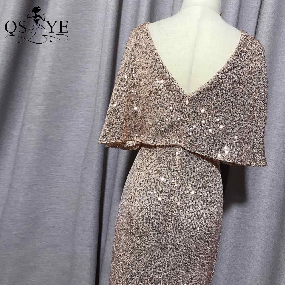 QSYYE Golden Evening Dresses Mermaid Short Sleeves Sexy V Neck Evening Gown