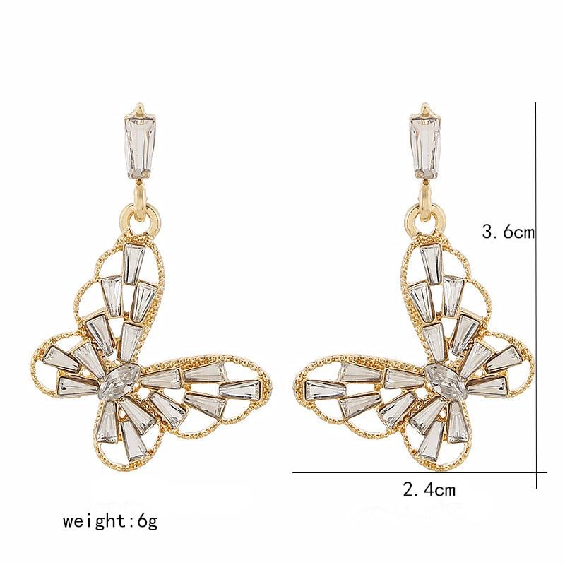 Baterfly Pendientes Fashion Earrings Golod Color Hollow Zircon Geometry Aesthetics Wedding Elegant Femal Girl Luxury Gift EF59