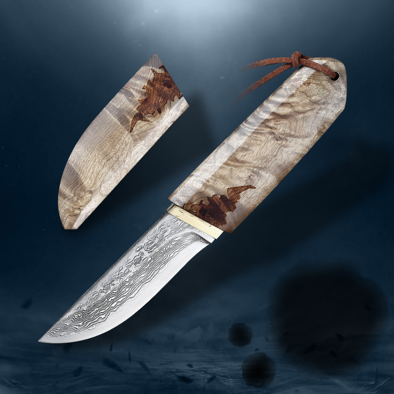 VG10 Damascus steel 75 layers, white shadow wood Japanese sword sharp camping hunting outdoor knife series (Samurai style)