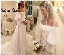 Простое свадебное платье в стиле бохо дешевое с открытыми плечами