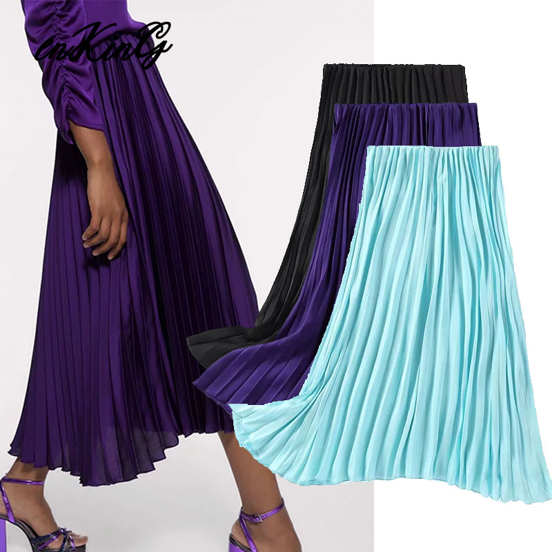 Enking 2020 Spring England Style Office Lady Solid Pleated High Waist Midi Skirt Women Faldas Mujer Moda 2019 Skirts Womens