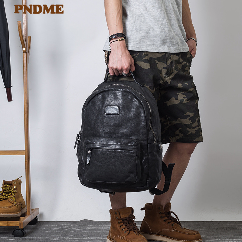 PNDME fashion vintage high quality genuine leather men's backpack designer luxury real cowhide women's black laptop backpack