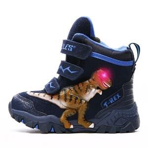 Image 3 - Dinoskullsボーイズ冬のブーツ雪の本革t rex ledグローイングファッション2020子供2 8暖かいぬいぐるみフリース子供ブーツ靴
