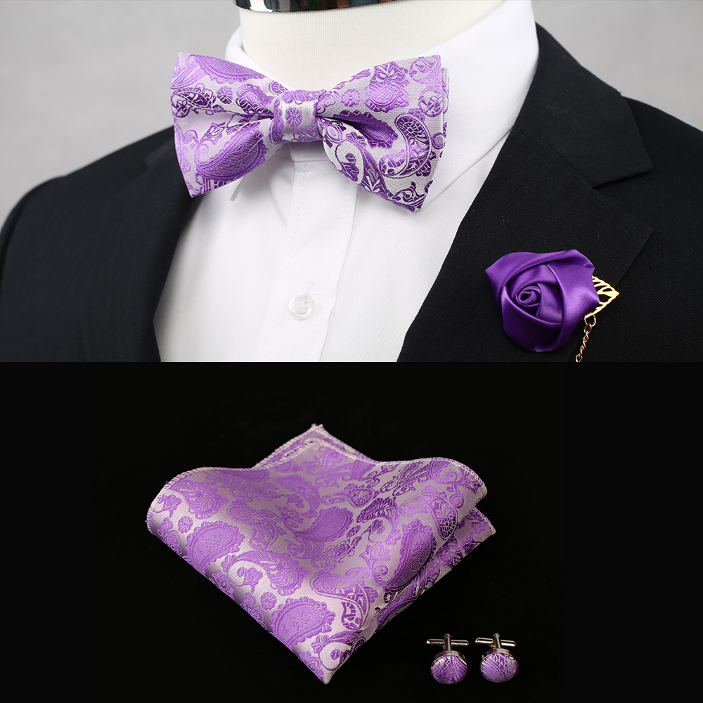 11 Colors Classic Wedding Coral Pink Silk Woven Men Butterfly Bow Tie Peach Purple Red BowTie Pocket Square Cufflinks Suit Set