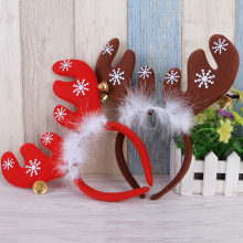 Christmas Headband Red Khaki Elk Ears Bell Festive Makeup Dress Up Props Ornament New Year Party Decoration I