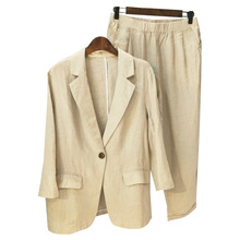 Summer casual suit blazer set thin loose Cotton and linen