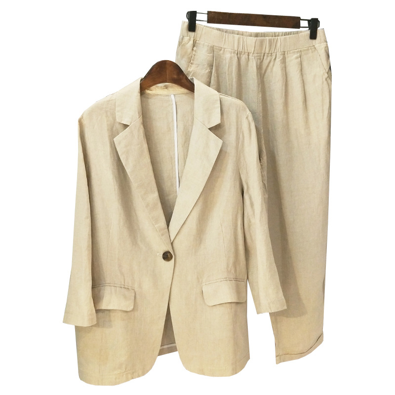 Summer Casual Suit Blazer Set Thin Loose Cotton And Linen Suit Women Suits Set 2 Pieces Office Suits For Women Pant Suits Women