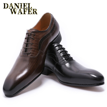LUXURY BRAND ITALIAN MEN LEATHER SHOES NEW FASHION COFFEE BLACK LACE UP POINTED TOE OFFICE WEDDING FORMAL SHOES MEN OXFORD SHOES northmarch new brand genuine leather men oxfod shoes lace up casual business wedding shoes men pointed toe comfort shoes
