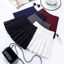2020 high waist skirt  black skirt  korean skirt Women Summer high waist pleated plaid skirt Female Anime Short Skirts skirt