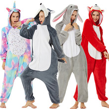 Kigurumi Unicorn Pajamas Onesie Women Panda Winter Flannel Pajama Kigurumi Adult Nightie Stitch Unicornio Sleepwear Overalls(China)