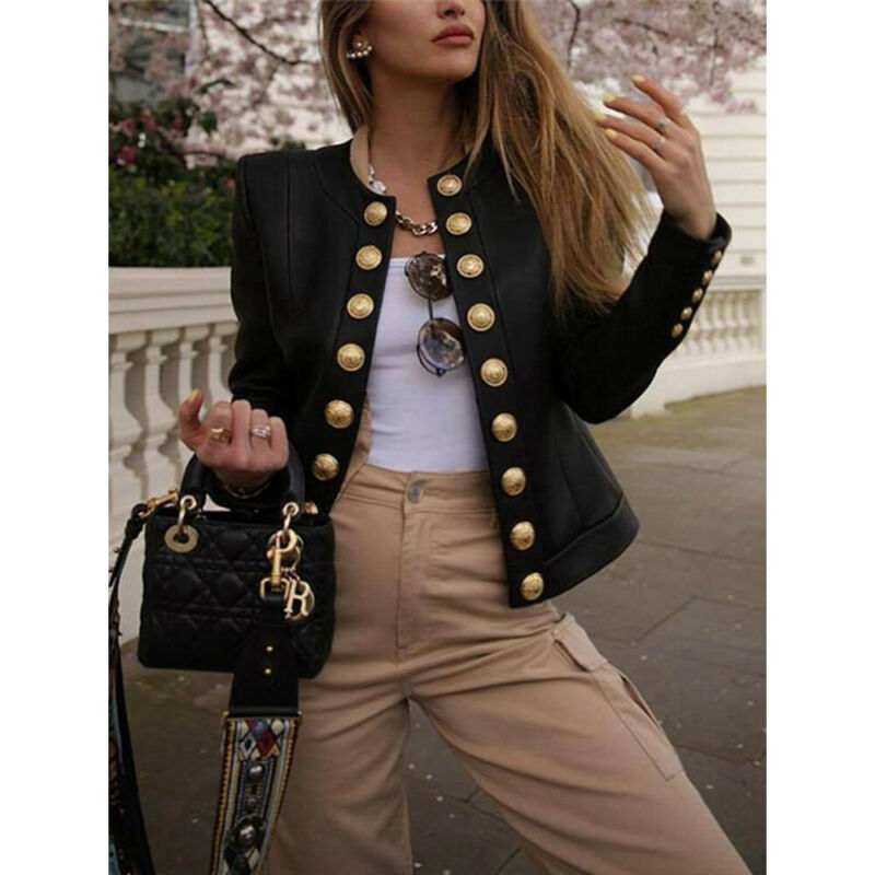 2019 New Fashion Brand UK Women Long Sleeve Office Ladies Slim Outwear Buttons Jacket Short Coat Biker Casual Tops Blazer S-XL