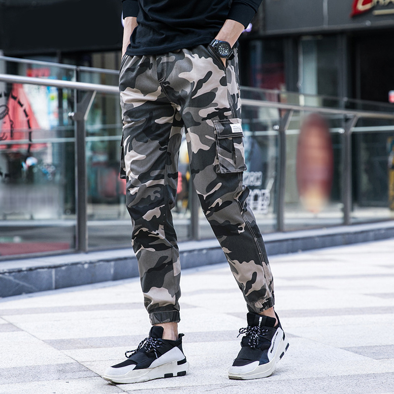 New Style Korean-style Men's Trousers Pure Cotton Trend Camouflage Casual Pants 2019 Spring And Autumn Men's Elasticity Bib Over