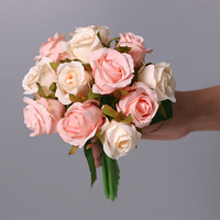 25cm 12 unids/lote flores artificiales de rosa de seda Rosa ramo de la boda flores para la casa decoración de fiesta regalo accesorio