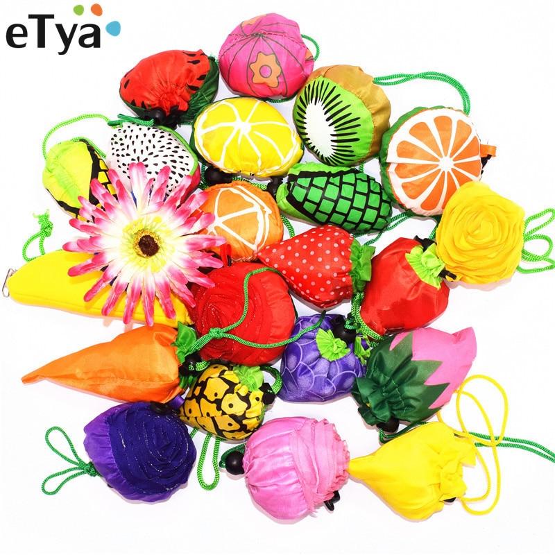 1PCS Reusable Shopping Bag For Women Vegetable Fruit Eco Reusable Foldable Shopper Bags Case Cute Large Storage Tote Fabric Bag