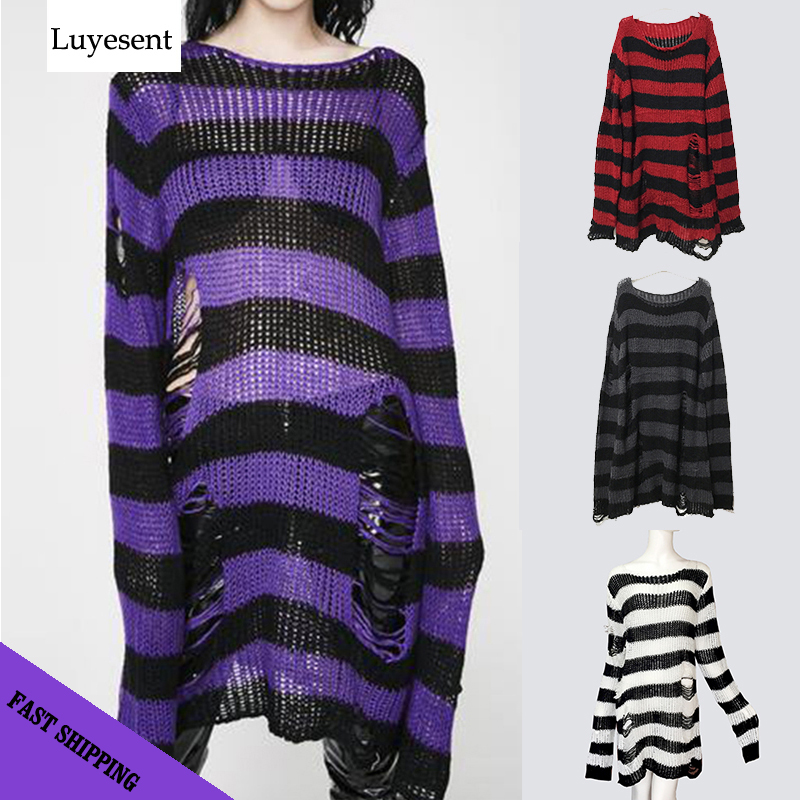 Plus Size Gothic Sweater Women Loose Befree Winter Long Pullover Striped Hole Rock Hip-hop Sweaters Knit Jumpers Sweter Mujer