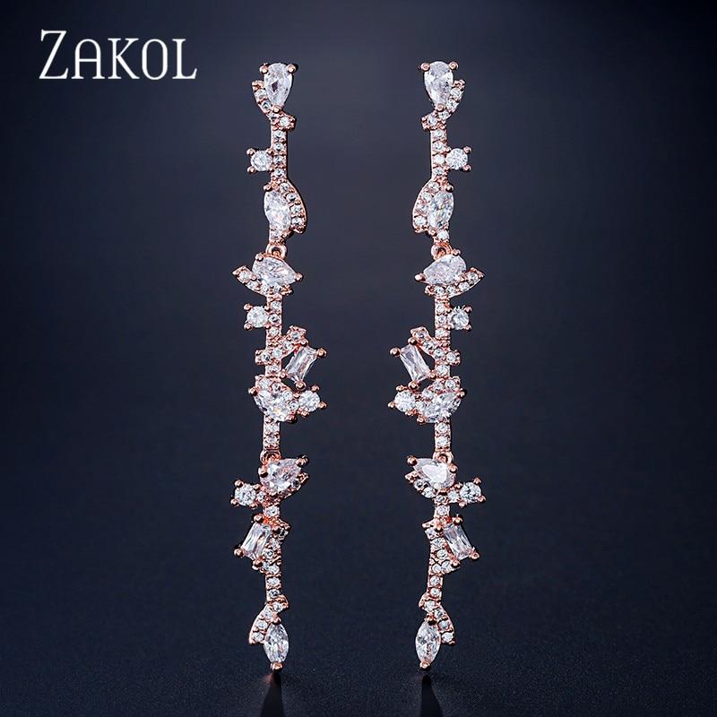 ZAKOL Popular Cubic Zirconia Long Dangle Drop Earrings for Women Fashion Leaf Bridal Wedding Party Dinner Dress Jewelry FSEP2109