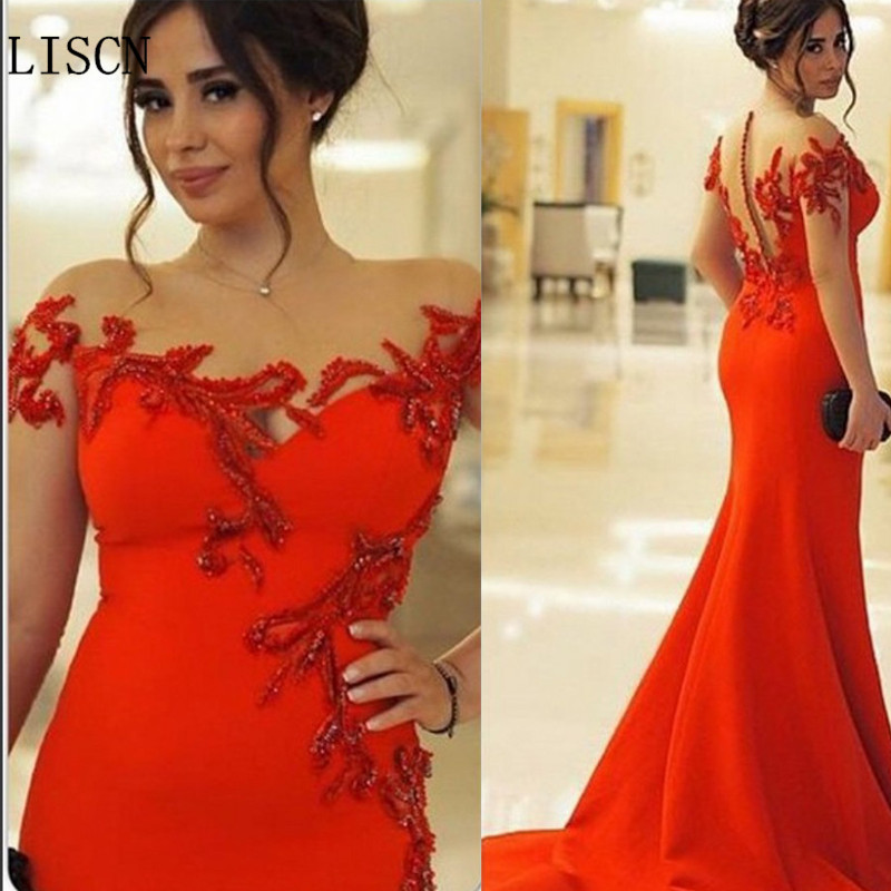 New Satin Custom Embroidery Long Illusion Sleeve Plus Size Chinese Red Mermaid Mother Of The Bride Dress Formal Guest Gowns Lace