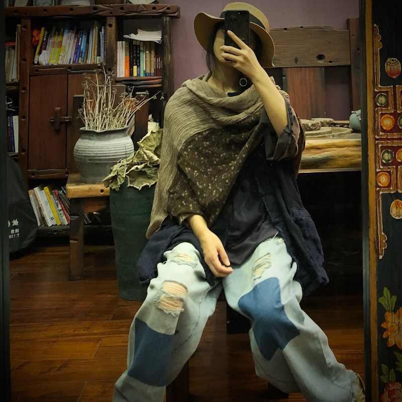 Johnature eğlence kadın eşarp 2020 yeni sonbahar kış Patchwork moda eşarp 3 renkler Vintage keten bayan giyim eşarp