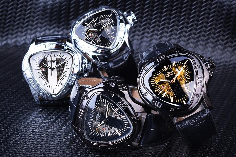 Ha4b5075022c14936a918664f62c8f2d4E Winner Steampunk Fashion Triangle Golden Skeleton Movement Mysterious Men Automatic Mechanical Wrist Watches Top Brand Luxury