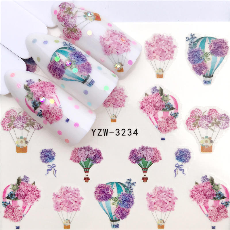 ZKO 2021 New Arrival Hot Air Balloon / Lavender / Flower Nail Water Decals Tranfer Sticker Nail Art Decoration