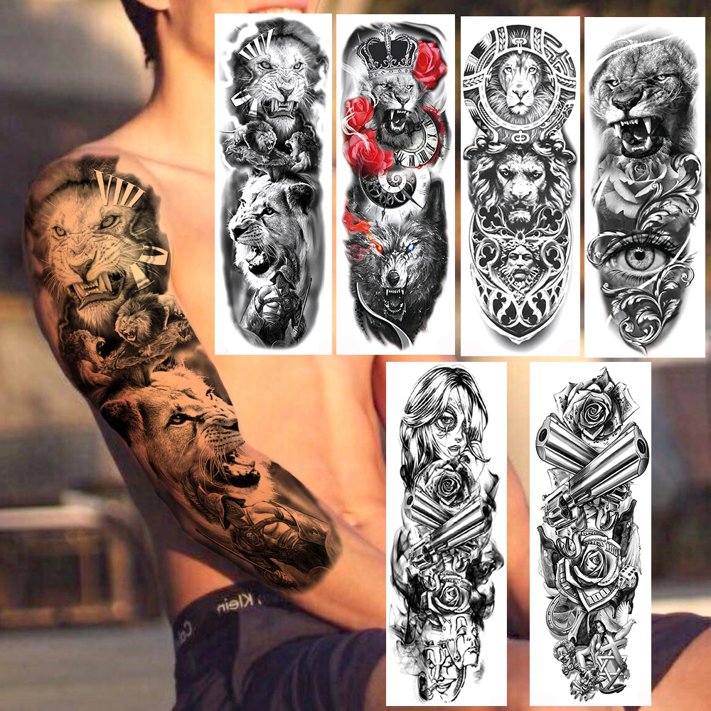 Ferocious Lion Military Temporary Tattoos Realistic Fake Full Arm Dark Angle Gun Rose Long Sleeve Tattoo Sticker For Women Men