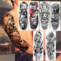 Ferocious Lion Military Temporary Tattoos Realistic Fake Full Arm Dark Angle Gun Rose Long Sleeve Tattoo Sticker For Women Men