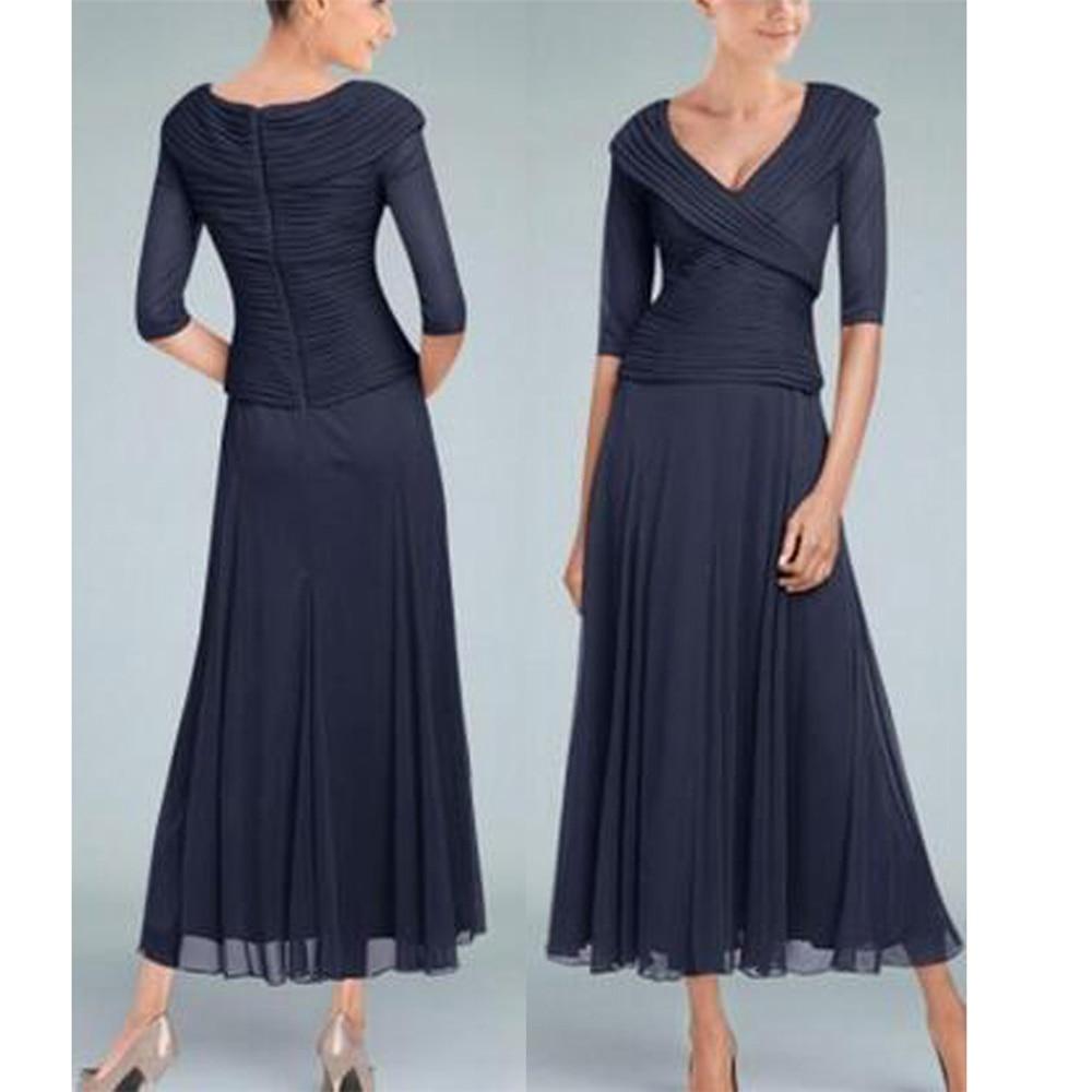 Black Chiffon Dinner Dresses For Women Half Sleeves A-line Tea-Length Ruffles Dreamy Handworks Mother Of The Bride Dress