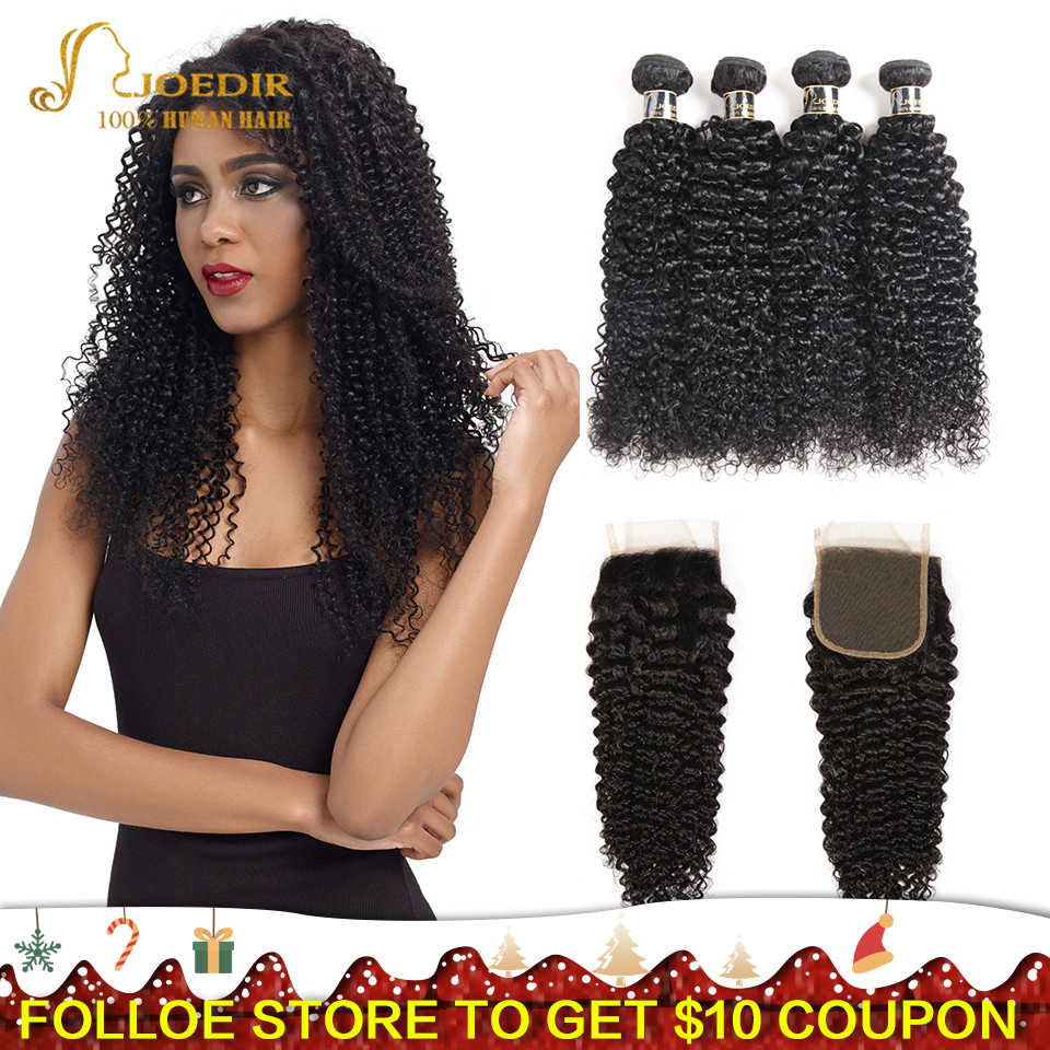 Joedir Hair Brazilian Afro Kinky Curly Human Hair Weave Non Remy Hair Extensions Bundles With Closure 3 4 Bundles With Closure