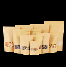 50pcs/lot High Quality Food Kraft Paper Bags With Window Stand Up Zipper