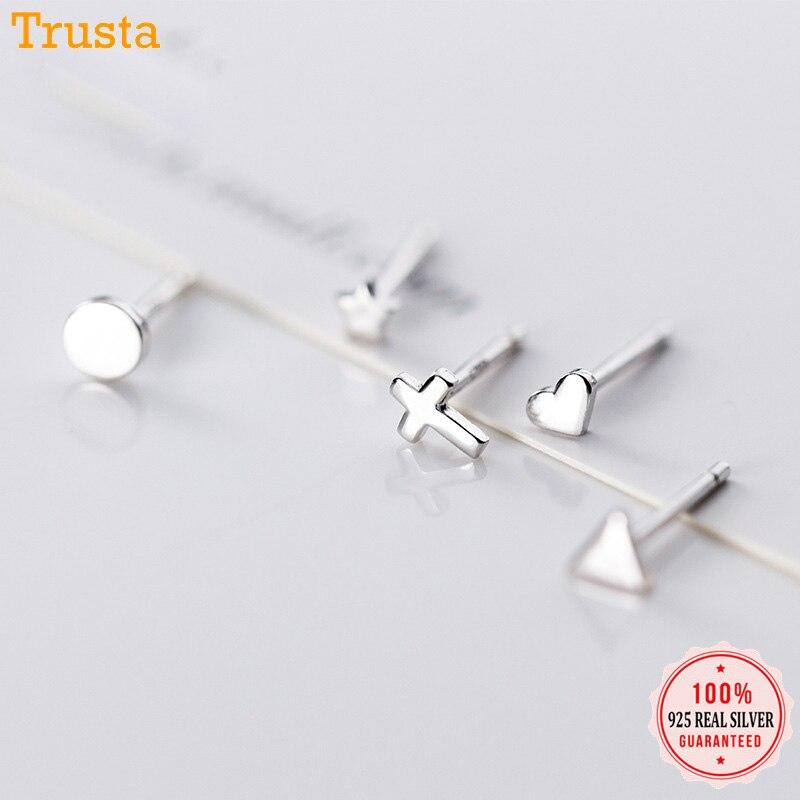 Trustdavis Genuine 925 Sterling Silver Gold Triangle Heart Star Cross Round Stud Earrings For Women Silver 925 Jewelry ED395