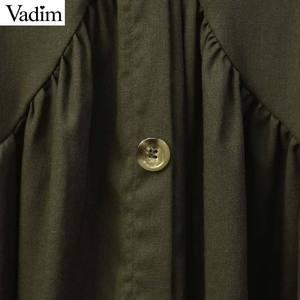 Image 5 - Vadim sólida básica das mulheres do vintage blusa V pescoço camisa de manga longa feminino casual desgaste do escritório plissado branco chic tops LB309