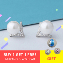 Sterling silver 925 girl geometric stud earrings V Cubic Zircon plated with natural Pearl fashion jewelry 2019 Top sell