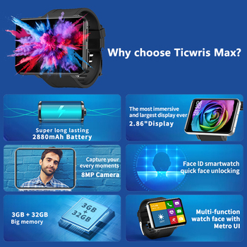 2020 New Ticwris Max 4G Android Watch 2.86 2
