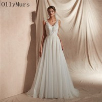 OllyMurs Tulle Wedding Dress 2019 Elegant Bridal Gown Plus Size Wedding Dress A Ling with Lace Design Bodice Vestido De Noiva