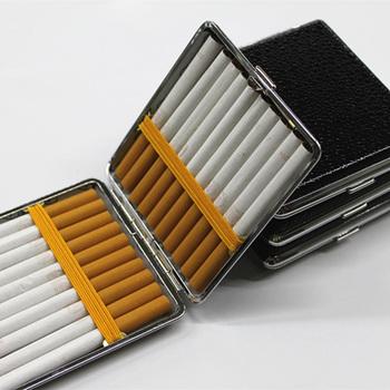 Faux Leather metalowa rama palenie papierosów futerał do przechowywania Box pojemnik akcesoria do papierosów lżejsze czarne kieszonkowe pudełko papierosów tanie i dobre opinie CN (pochodzenie) Matowe