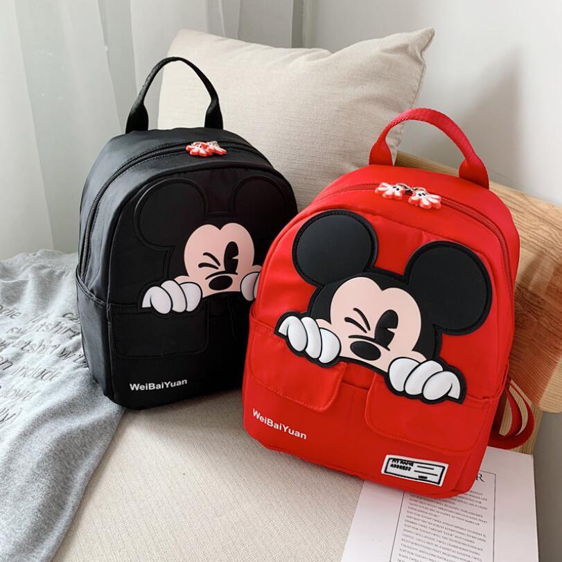 Baby Backpack Cute Plush School Bag For Girls Mickey Minnie Bags Cartoon Children Cute Kindergarten Travel Portable Bag 2-7 Year