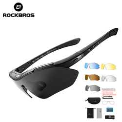 Rockbros Gepolariseerde Sport Mannen Zonnebril Road Fietsen Glazen Mountainbike Fiets Rijden Bescherming Goggles Eyewear 5 Lens