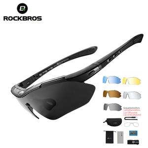 Rockbros polarizado esportes óculos de sol dos homens ciclismo estrada mountain bike bicicleta equitação proteção óculos 5 lente