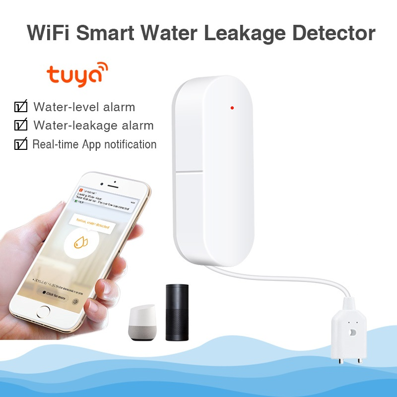 QOLELARM Tuya Smart WIFI Water Leakage Alarm Detector App Notification Alerts Water Sensor Alarm Leak Home Security