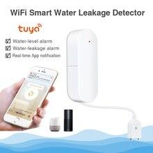 Qolelarm tuya inteligente wi fi vazamento de água alarme detector aplicativo notificação alertas sensor de água vazamento de alarme segurança em casa