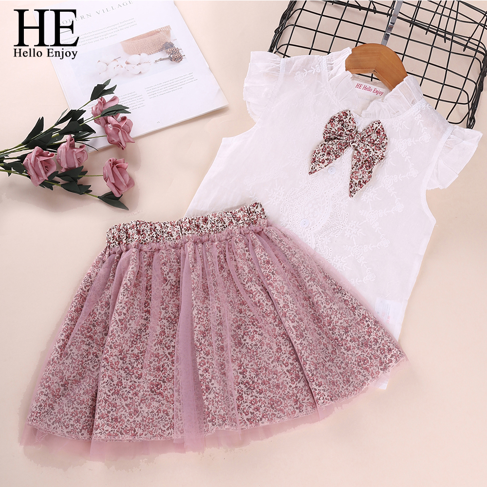 HE Hello Enjoy Girl Clothing Sets Summer Kids Bow-knot +Flower Skirts Outfits Clothes Sweet Suit Girls Leopard Children Clothing