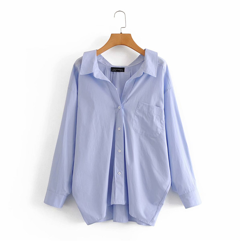 Evfer Women Casual Za Blue Loose Poplin Shirts Oversize Tops Ladies Fashion Long Sleeve Single Breasted Turn-down Collar Blouse 1