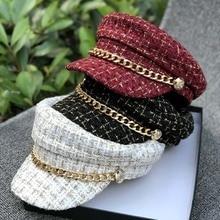 01908-duxiao4834 Осенняя Клетчатая Кепка с металлической цепочкой восьмиугольная шляпа для мужчин и женщин, берет для отдыха, кепка