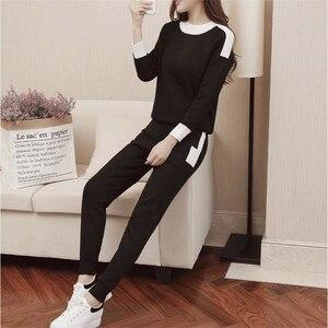 Image 5 - CBAFU outono inverno mulheres treino manga comprida camisola calças terno calças de malha terno tricô P397 conjunto elástico na cintura das mulheres